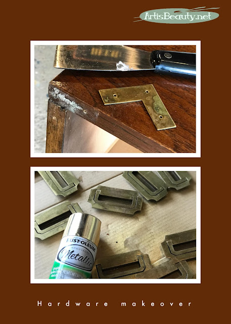 campaign dresser hardware makeover using gold metallic spray paint