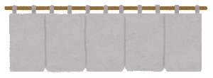 暖簾のイラスト(グレー)
