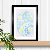 Modern abstract blue oval with circles A4 stitching on card paper pricking hand embroidery pattern for framed wall art picture making.