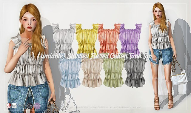 {amiable}Shirred Flared Cotton Tank Top@ACCESS(50%OFF SALE).