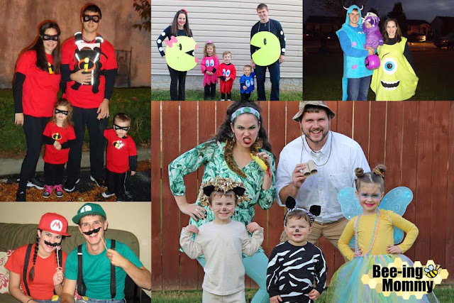 DIY family costumes, themed costumes, halloween costume, easy costumes, DIY costume, Safari costume, Incredibles costume, Mario & Luigi costume, Pacman family costume, Monster's Inc. Costume