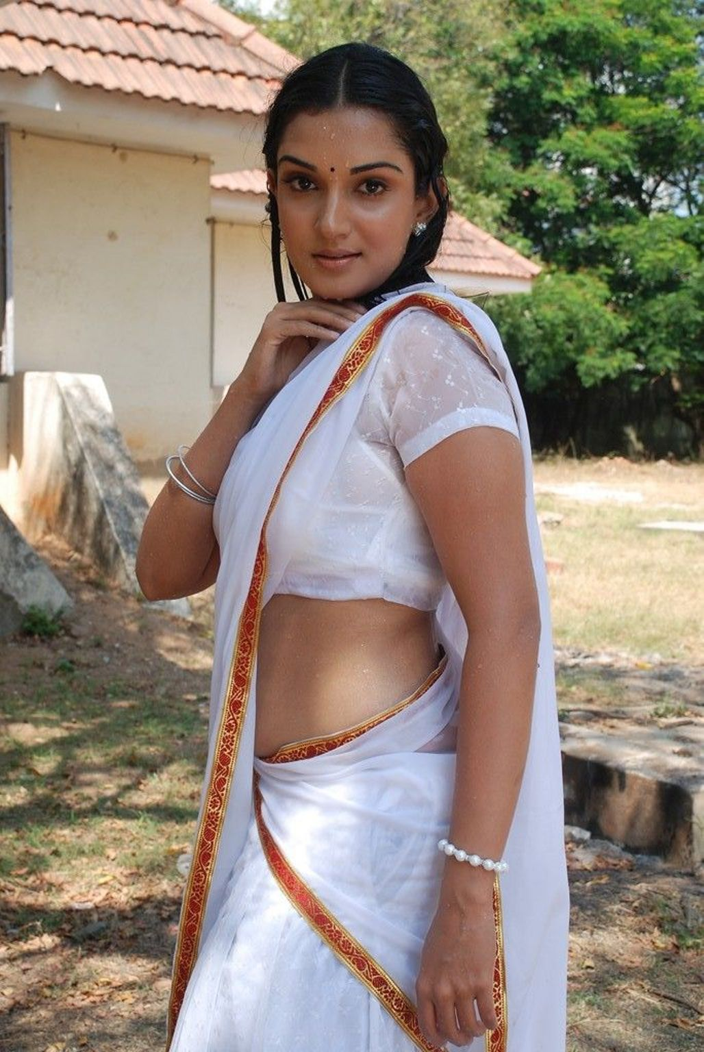 Honey rose in white saree