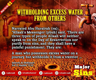 MAJOR SIN. 61.2. WITHHOLDING EXCESS WATER FROM OTHERS