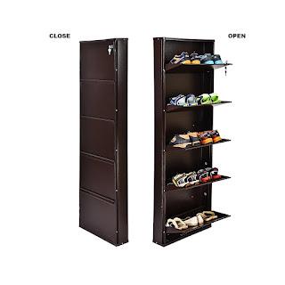 Peng Essentials SpaceSaver 3 Level 20 Inches Wide Shoe Rack,Flipzon Powder Coated Five Door Steel Shoe Rack Wall Mount Space Saver - 21-inch