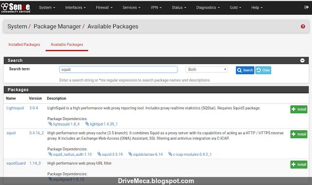 DriveMeca instalando y configurando pfSense Squid Transparent Proxy paso a paso