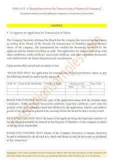 sample board resolution for transmission of shares