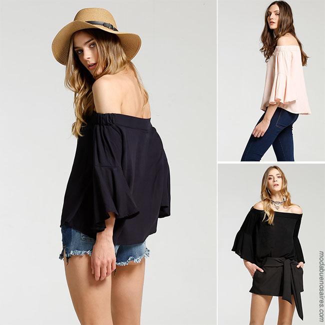 Blusas combinadas con shorts o jeans - Moda 2018 mujer - Verano 2018
