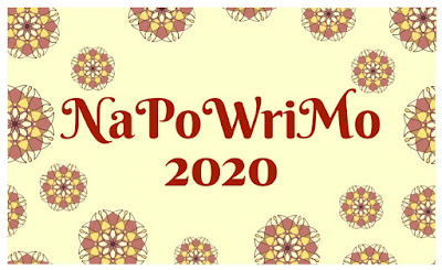 Lettering that read NaPoWriMo 2020 with yellow and geometric circular floar pattern in background