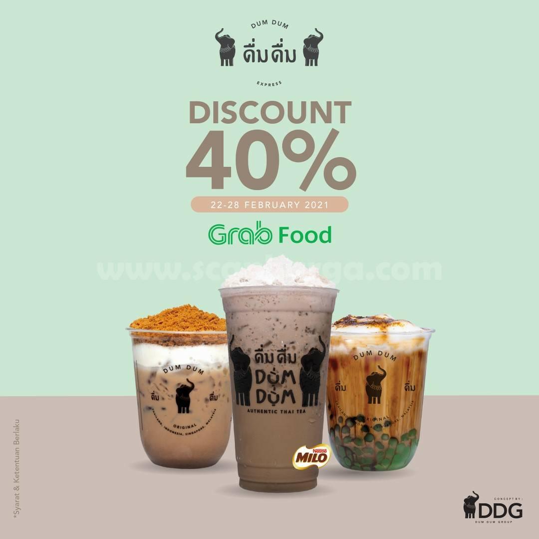 Dum Dum Thai Drinks Promo GRABFOOD! Special Diskon 40%