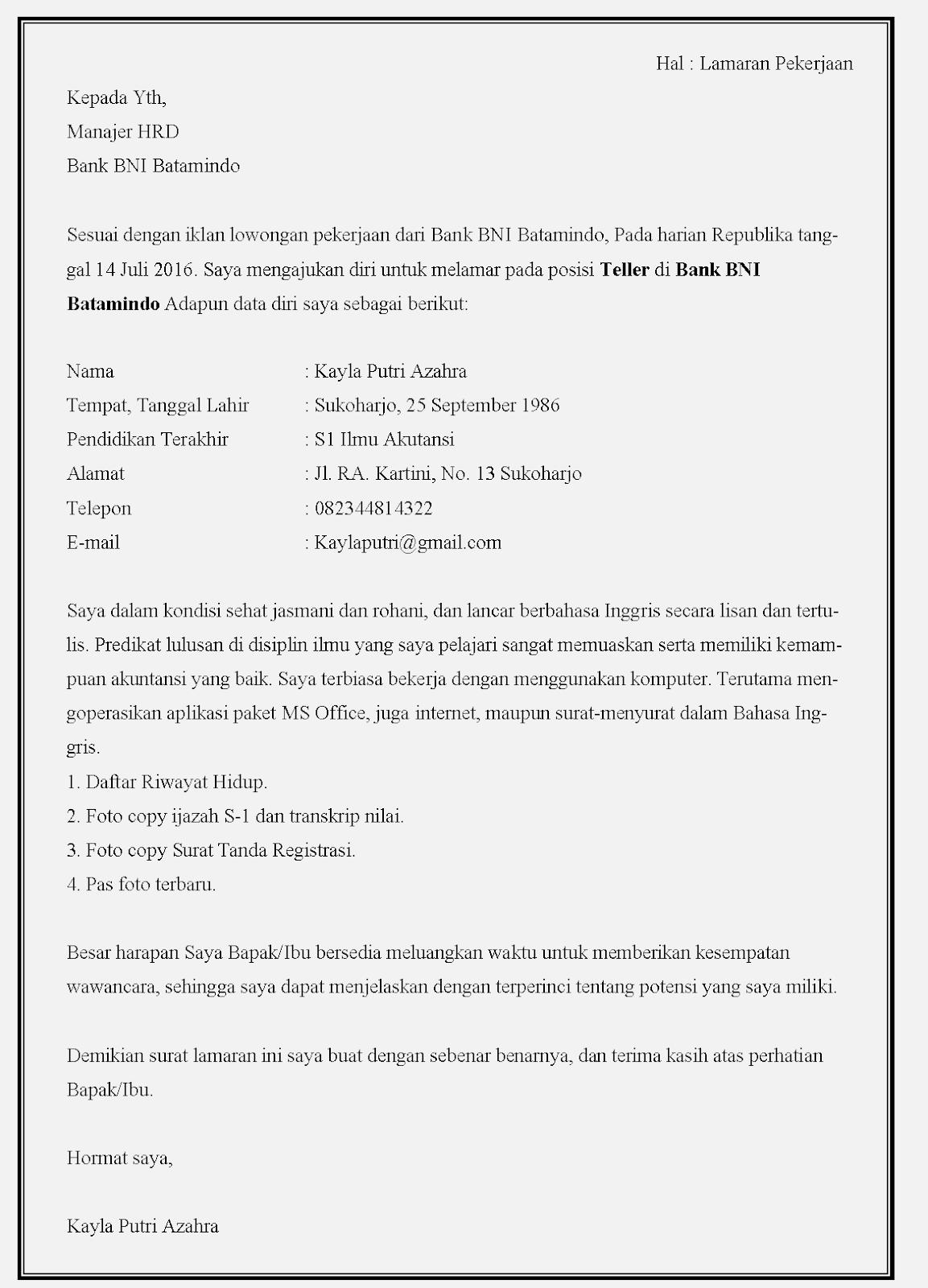 13 Contoh Surat Lamaran Kerja Bank Bni Contoh Surat
