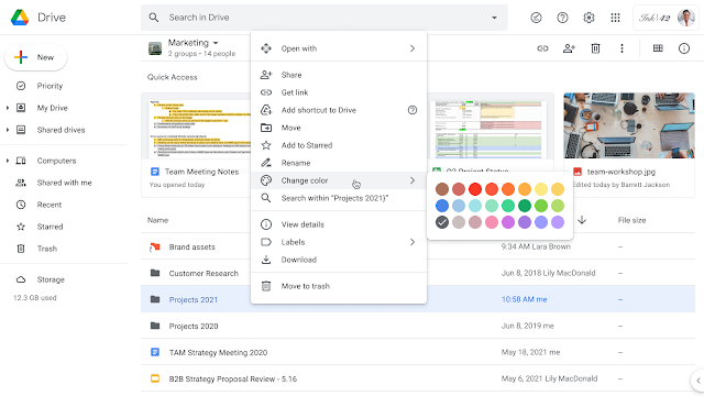Customize the color of your folders and shortcuts in Google Shared Drives 1
