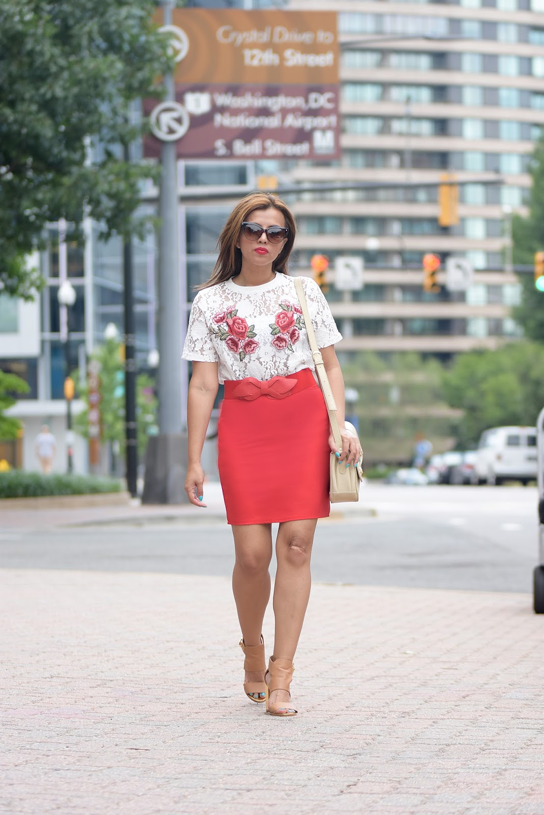 Marisol Blouse: Romwe Pencil Skirt: DressLink Shoes: CB LABEL Bag: America   Mau T-Shirt: Calvin Klein Pants: H&M Shoes: DSW Sunglasses: Kenneth Cole Watch: Jord