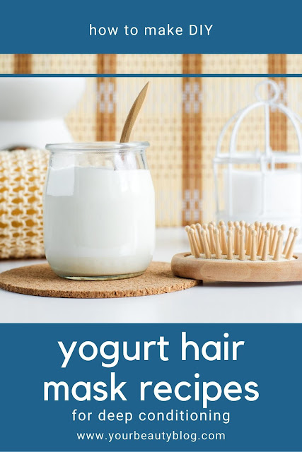 Yogurt benefits for hair plus 7 yogurt hair mask recipes.  Use plain Greek yogurt for a diy deep conditioning treatment and add egg and honey and banana and avocado or coconut oil to make a mask for frizzy hair, for shine, for growth, for oily hair, for frizz, for dry hair, or for dandruff. Use yogurt to make a diy hair mask for damaged hair homemade deep conditioner.  #hair #diyhair #yoguft #dryhair