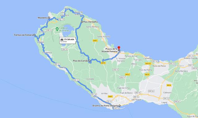 Ruta por el Noroeste de la isla de Sao Miguel en Azores
