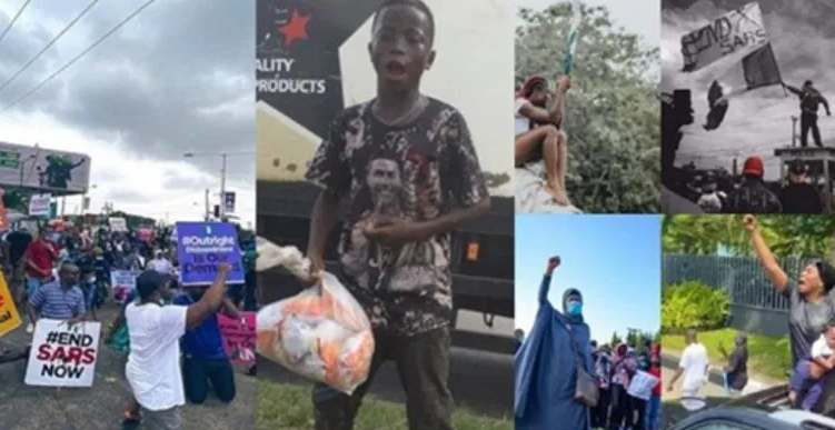 """#EndSARS: """"Please do it for us so that I can go to school"""" – Niherian little boy says as he shares free snacks to the peaceful protesters in Lekki"""