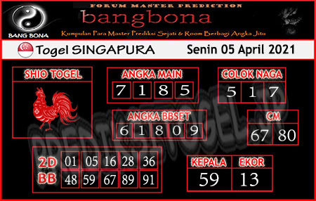 Prediksi Bangbona SGP Senin 05 April 2021