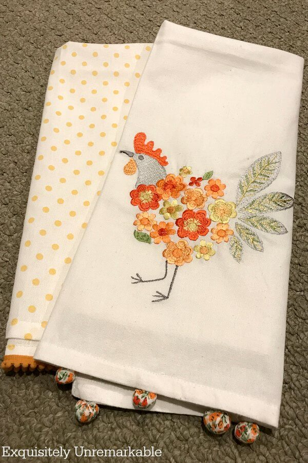 Rooster and Orange Polka Dot Kitchen Towel