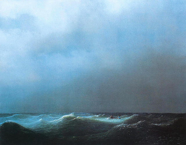 Michael Sowa, two people in a small boat in stormy seas