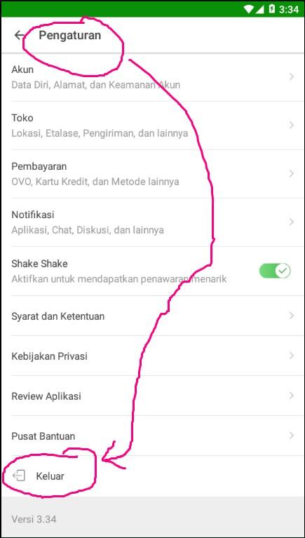Cara Logout / Mengeluarkan Akun Tokopedia di Smartphone.