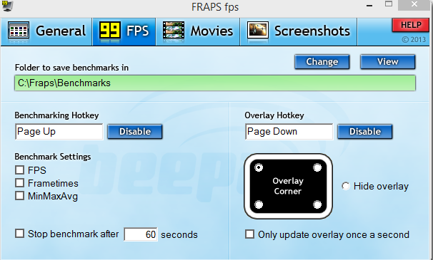 How to check FRAPS laptop game FPS