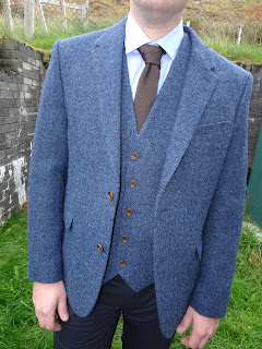 harris tweed waistcoat and jacket blue