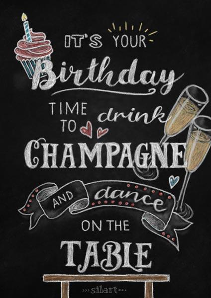 Birthday, handlettering card, chalkboard