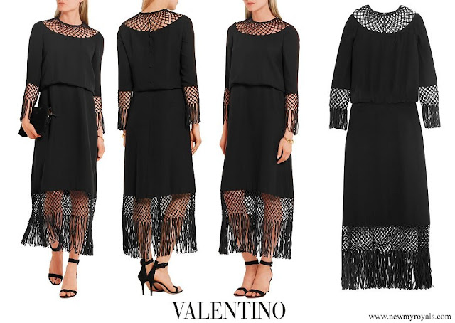Queen Maxima wore a fringed macramé-paneled silk-crepe midi dress by Valentino