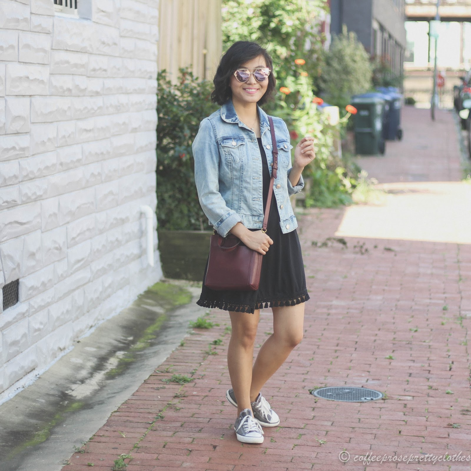 Madewell Small Transport tote, ASOS tassel dress, Convers chucks, Mirrored sunglasses, Denim jacket