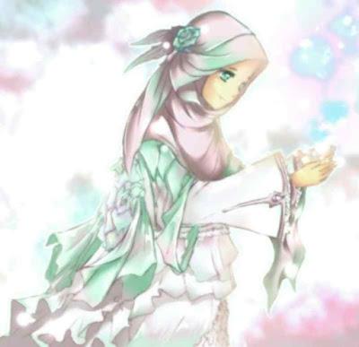 gambar kartun muslimah cantik berdoa