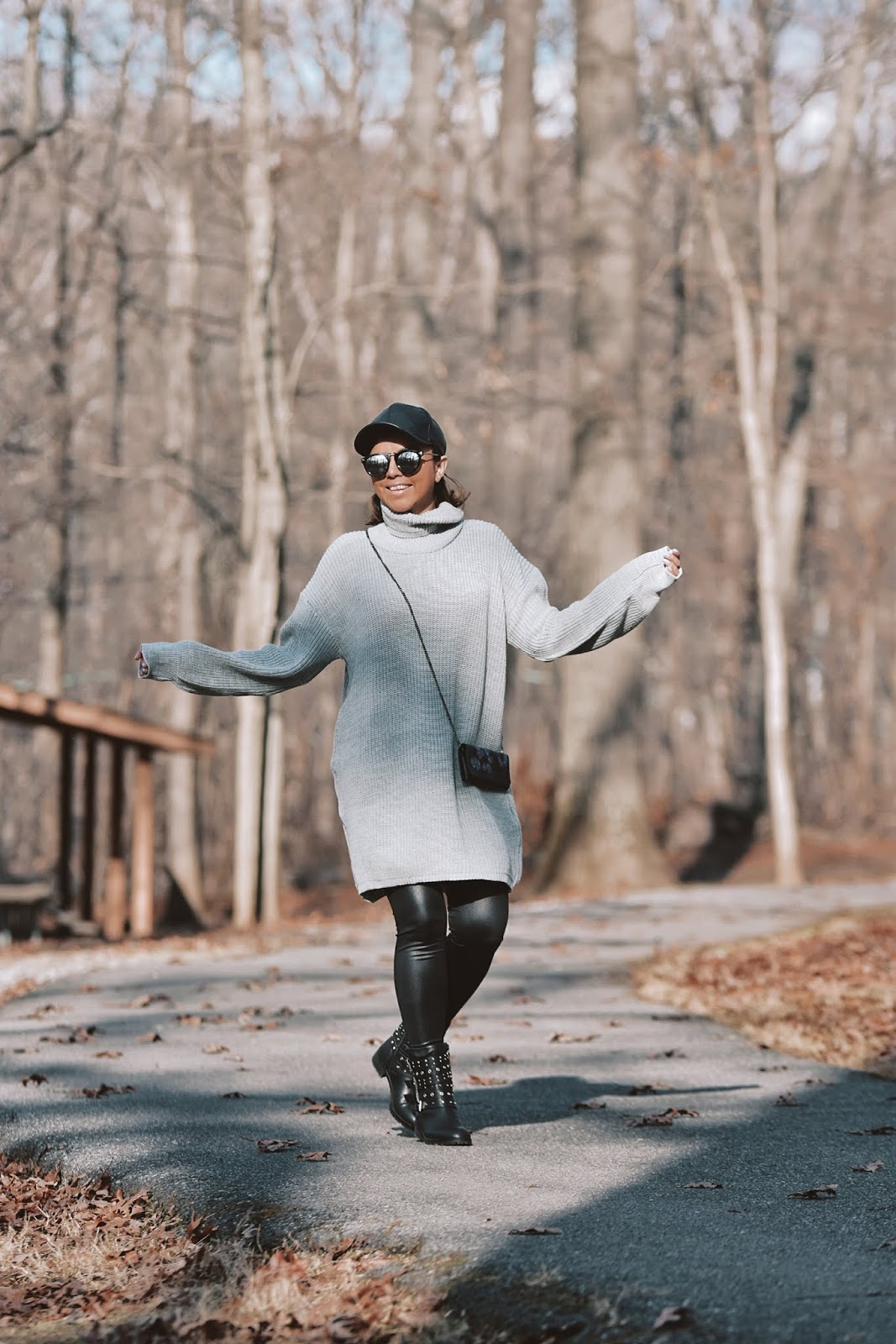 Gray Sweater Dress With Fake Leather Pants-dcblogger-
