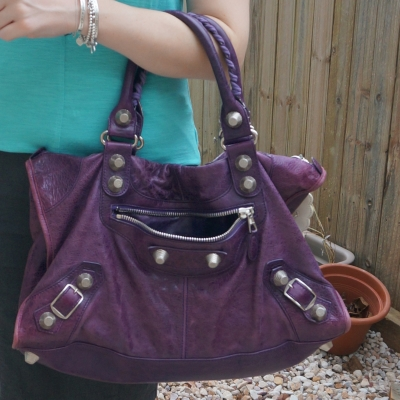 Balenciaga raisin purple 2009 giant silver G21 hardware work bag worn on arm | away from the blue