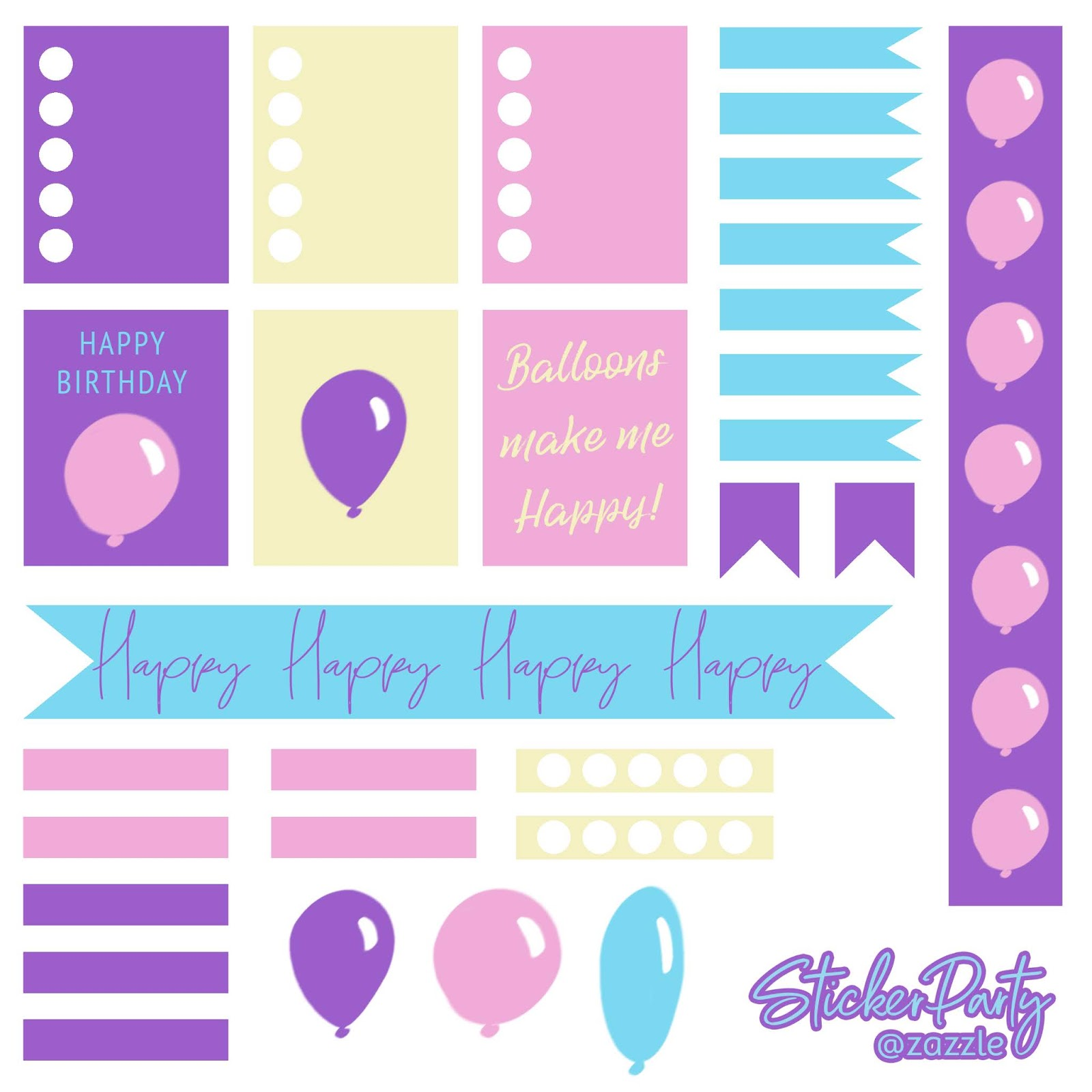 Free happy birthday party and balloons rainbow planner sticker sheet. Planner stickers fit ECLP (Erin Condren Life Planner) and Recollections planners. A digital download printable made to perfectly match this collection!