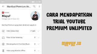 Cara Mendapatkan Trial YouTube Premium Unlimited Terbaru