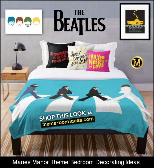 THE BEATLES  bedroom ideas the beatles bedding the beatles wall art music bedroom decorating