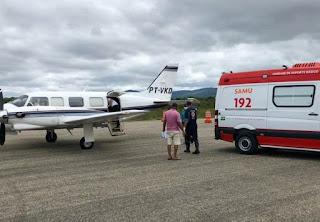 Paciente de Tanhaçu é transferido de Brumado para Salvador em avião