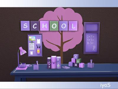 School Decor set Школьный декор для: The Sims 4 Красочные школьные украшения и школьные принадлежности для учителей и учеников помогут вам создать привлекательную, веселую обстановку, в которой дети будут любить учиться. В набор входят 7 декоративных предметов и настольная лампа. Автор: soloriya