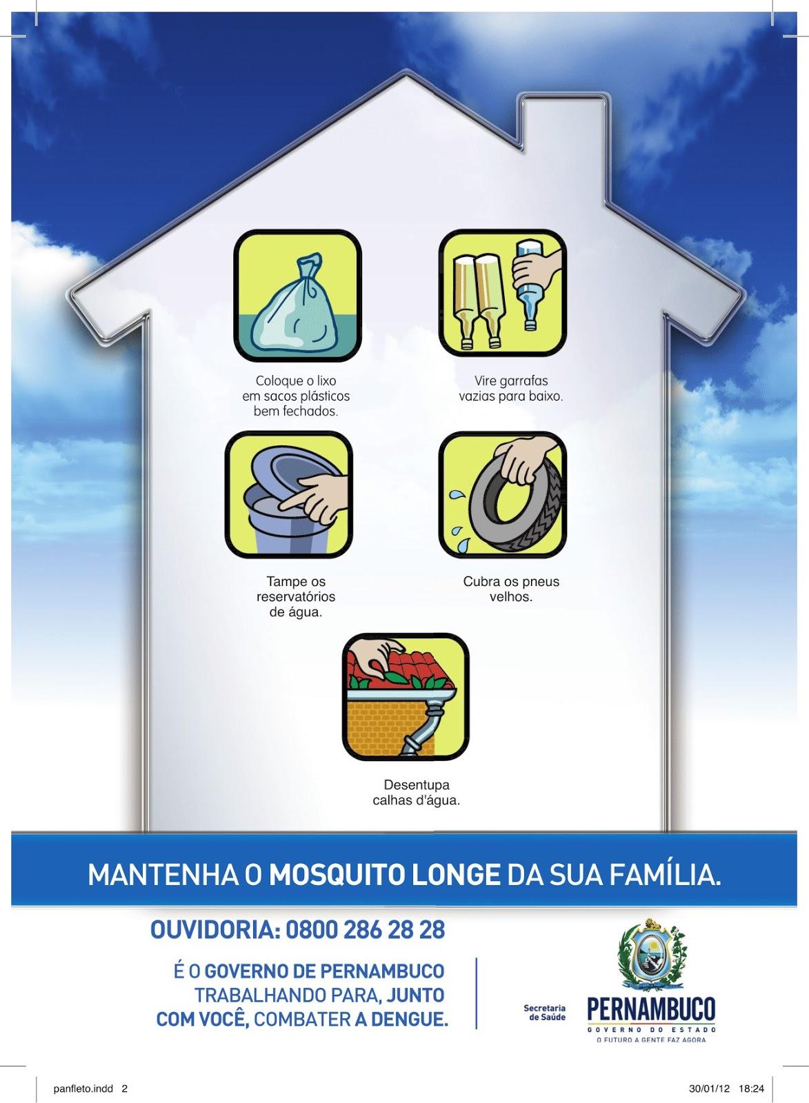 Cartaz da campanha do Governo do Estado - DENGUE- Programa de Prevenção à Dengue, Chikungunya e Zika