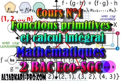 Cours N°1 Fonctions primitives et calcul intégral 2 Bac Sciences Économiques et Sciences de Gestion Comptable,  Mathématiques, 2 Bac Sciences Économiq