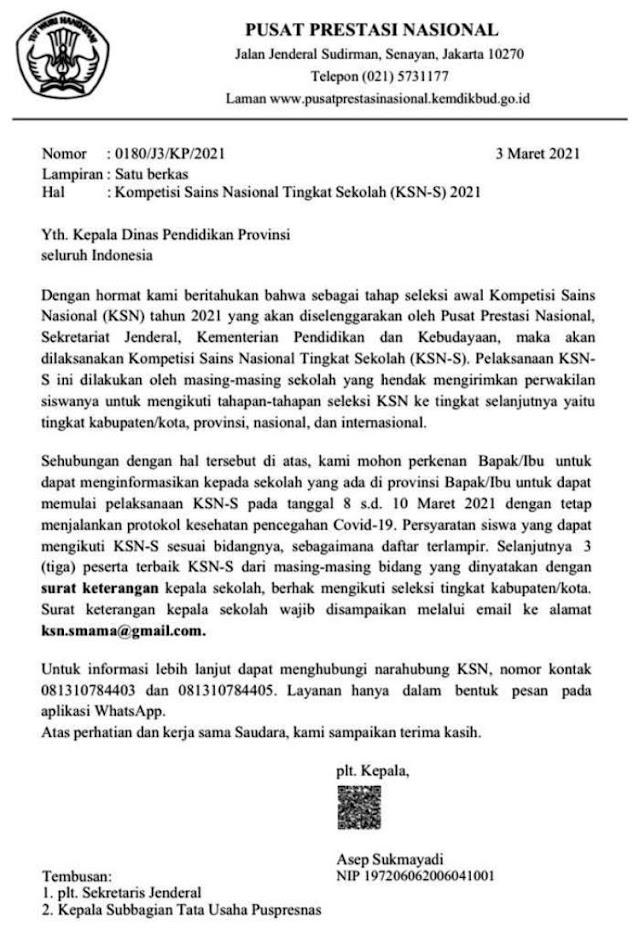 Surat Edaran Pelaksanaan KSN SMA/MA Tingkat Sekolah Tahun 2021 PDF + Persyaratan & Jadwal
