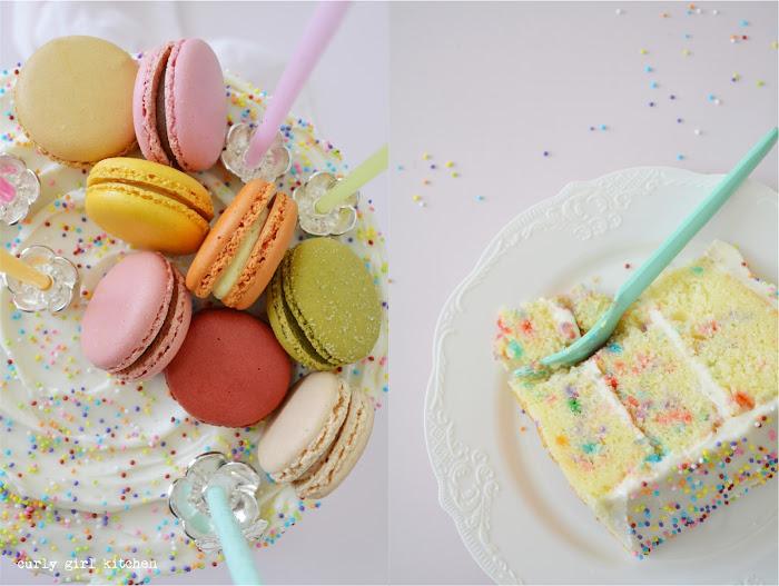 Funfetti Cake, Rainbow Cake, Sprinkles Cake, Cake with Macarons, Macaron Cake, Sprinkle Birthday Cake, Cake Decorating Ideas, High Altitude Funfetti Cake