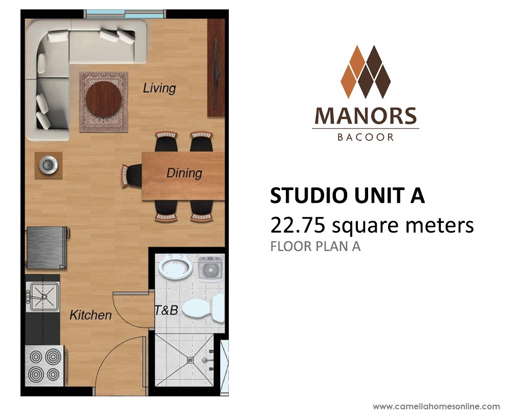 Floor Plan of Studio 22.75 Sqm - Manors Bacoor | Condo for Sale Bacoor Cavite