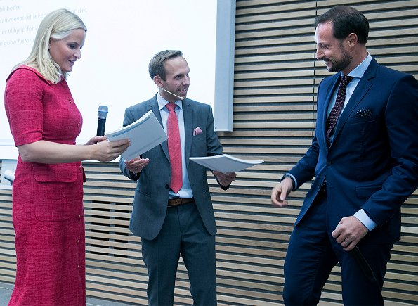 Crown Princess Mette Marit wore Prada dress and Christian Louboutin Simple Pump. She carried beige clutch bag