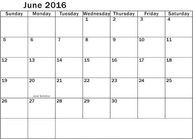 2016 Printable Calendar Landscape, June 2016 Blank Calendar, June 2016 ...