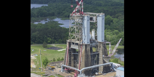 Under a Commercial Space Launch Act agreement, Blue Origin will upgrade and refurbish Test Stand 4670, at NASA's Marshall Space Flight Center in Huntsville, Alabama, to support testing of their BE-3U and BE-4 rocket engines. Constructed in 1965, Test Stand 4670 served as the backbone for Saturn V propulsion testing for the Apollo program, which celebrates its 50th anniversary this year. Credits: NASA