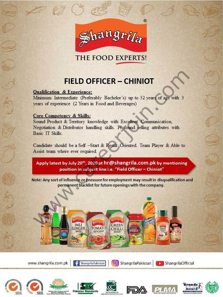 Shangrila Foods Pvt Ltd Jobs Field Officer