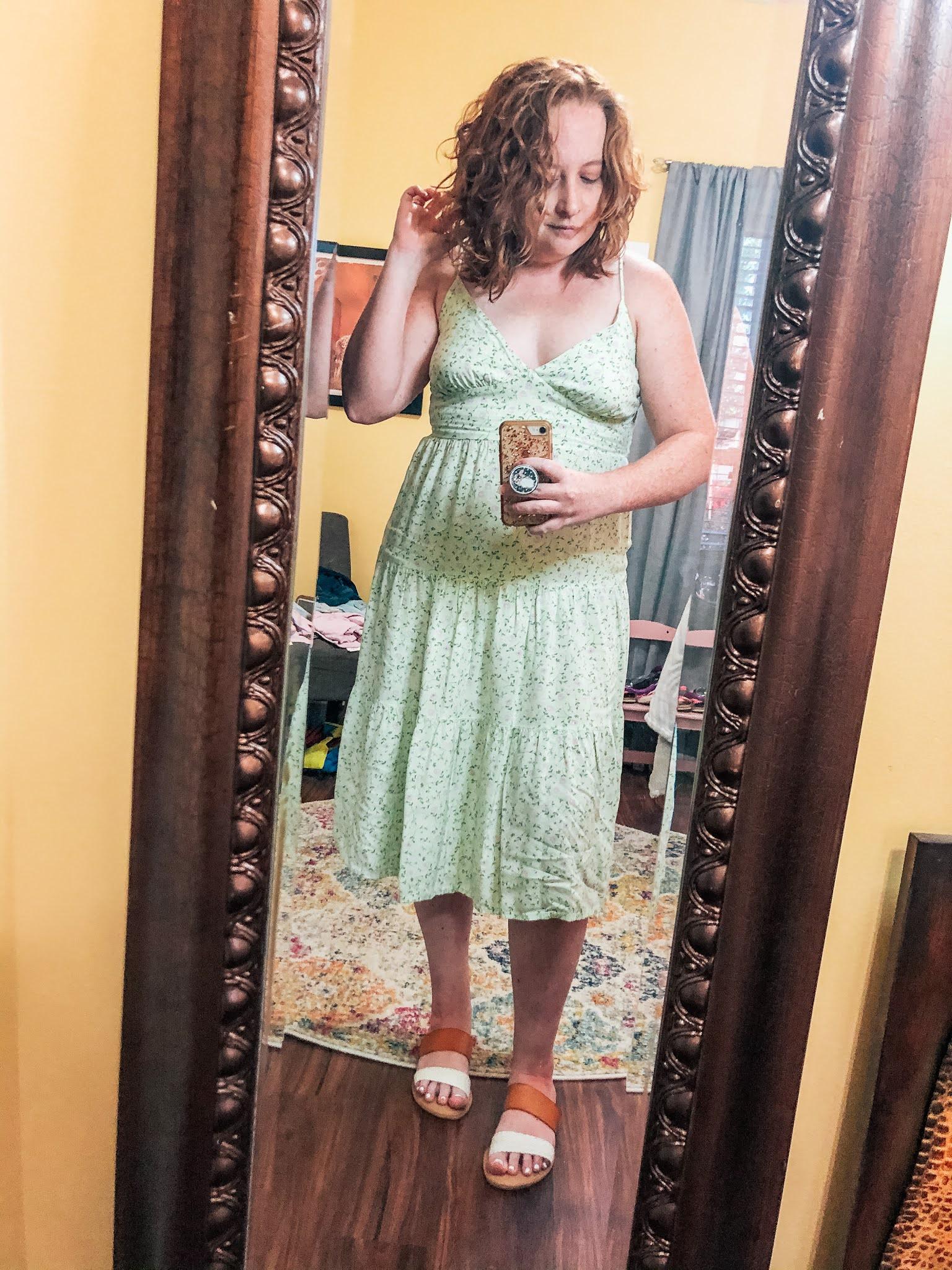 green-floral-midi-dress