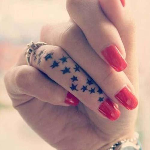 finger multiple star tattoo parmak çoklu yıldız dövmesi