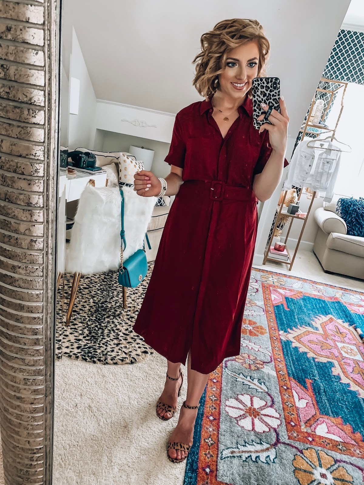 Target Fall Finds: Part One - Under $30 Belted Burgundy Midi Dress - Something Delightful Blog