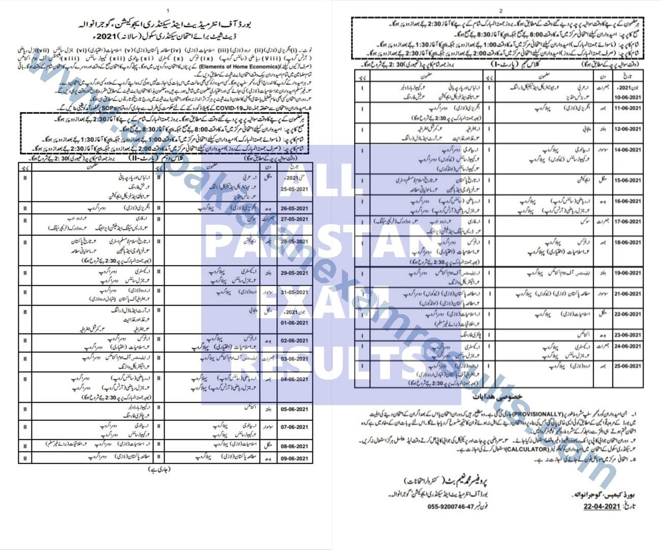 BISE Gujranwala Matric Date Sheet 2021 Annual