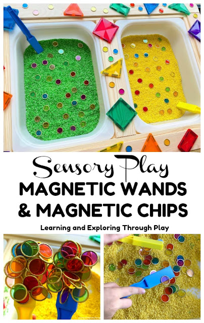 Magnetic Wands and Chips Sensory Play